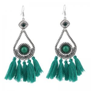 Vintage Rhinestone Tassel Teardrop Earrings