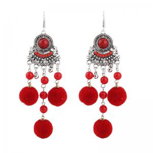 Fuzzy Ball Beads Chandelier Hook Earrings - Red - 2xl