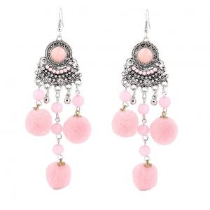 Fuzzy Ball Beads Chandelier Hook Earrings