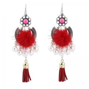 Faux Pearl Tassel Fuzzy Ball Earrings - Red - One Size