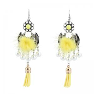 Faux Pearl Tassel Fuzzy Ball Earrings