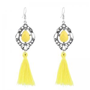 Faux Gem Teardrop Tassel Hook Earrings