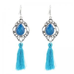 Faux Gem Teardrop Tassel Hook Earrings - Blue