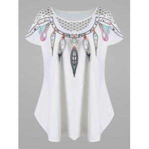 Openwork Feather Print Plus Size Top - White - 3xl