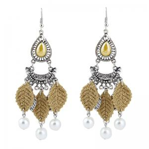 Faux Pearl Teardrop Leaf Chandelier Earrings