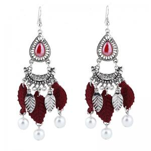Faux Pearl Teardrop Leaf Chandelier Earrings - Wine Red - One Size