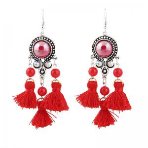 Bohemian Tassel Beads Chandelier Earrings - Red - 2xl