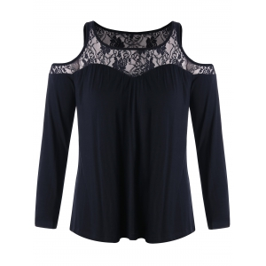 Lace Panel Plus Size Cold Shoulder Tee