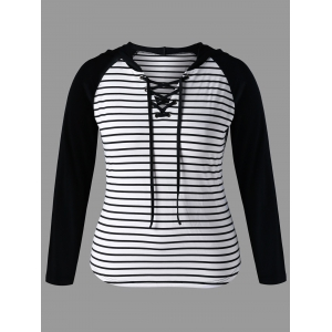 Stirped Panel Plus Size Lace Up Hoodie - Black White - 5xl