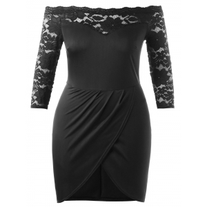 Off The Shoulder Plus Size Bodycon Mini Dress