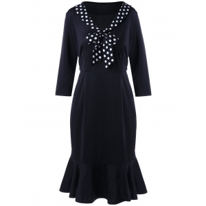 Polka Dot Insert Plus Size Fishtail Dress - Black - Xl