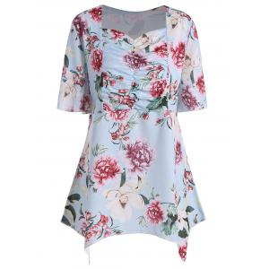 Asymmetrical Plus Size Floral Top