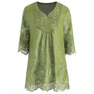 Plus Size V Neck Embroidered Tunic Top