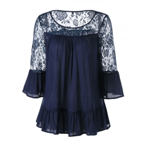 Flounced Lace Trim Flare Sleeve Blouse - Purplish Blue - Xl
