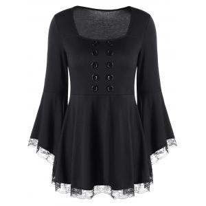 Double Breasted Bell Sleeve Peplum Top - Black - Xl