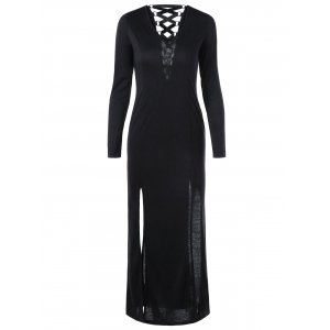 Lace Up Long Sleeve Slit Maxi Dress - Black - 2xl