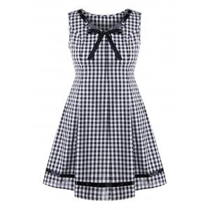 Plus Size Sleeveless Plaid Swing Dress - Black White - 3xl
