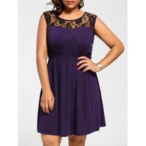 Sleeveless Plus Size Lace Yoke Skater Dress - Purple - 3xl