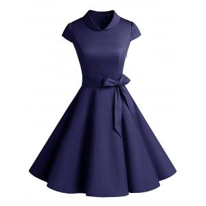 Vintage Belt Party Swing Pin Up Dress - Purplish Blue - 2xl