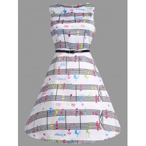 Music Note Print Party Swing Dress