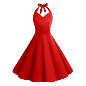 Vintage Backless Halter Skater Party Dress - Red - S