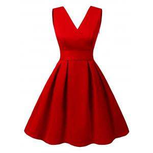 Cut Out V Neck Vintage Pin Up Dress