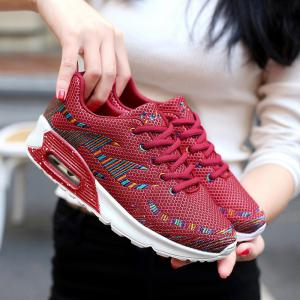 Air Cushion Embroidery Line Athletic Shoes - Rouge 37