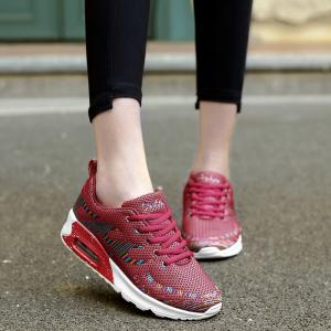 Air Cushion Embroidery Line Athletic Shoes - Rouge 39