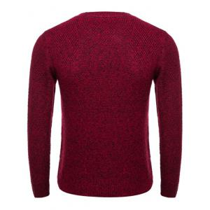 Knit Blends Crew Neck Long Sleeve Sweater - WINE RED 2XL