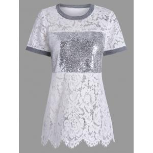 Short Sleeve Sequin Lace T-shirt - Gray - Xl