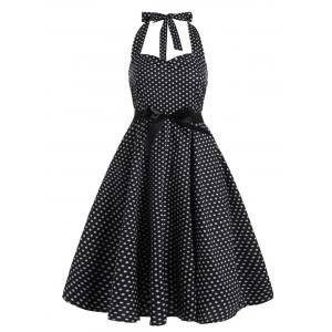 Polka Dot Empire Waist Halter Vintage Dress