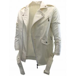 Asymmetrical Zip Belted PU Leather Biker Jacket - Off-white - 3xl
