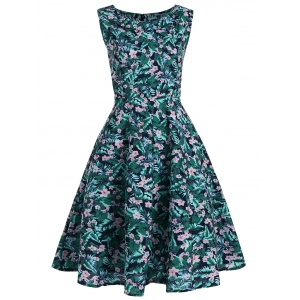 Floral Leaf Printed Sleeveless Vintage Dress - Colormix - 2xl