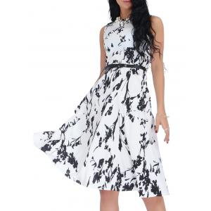 Belted Sleeveless Floral Monochrome Dress - Black White - 2xl