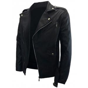 Asymmetrical Zip Belted PU Leather Biker Jacket