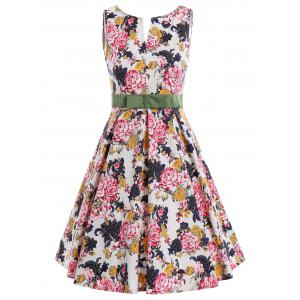 Bowknot Waist Sleeveless Floral Pin Up Dress