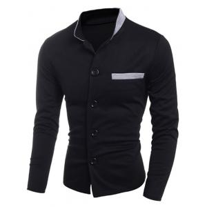 Edging Stand Collar Single Breasted Jacket