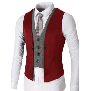 Single Breasted Two Tone Faux Twinset Waistcoat - Wine Red - 2xl