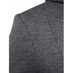 Cotton Blend à capuche Zip Up Casual Blazer - Gris 2XL