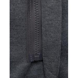 Cotton Blend Hooded Zip Up Casual Blazer - GRAY L