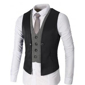 Single Breasted Two Tone Faux Twinset Waistcoat - Black - S