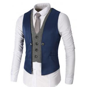 Single Breasted Two Tone Faux Twinset Waistcoat - Deep Blue - S