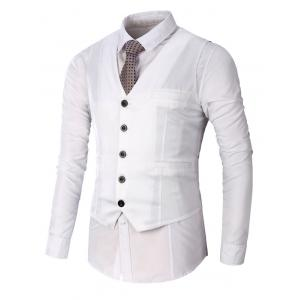 Single Breasted Faux Pocket Waistcoat - White - 2xl