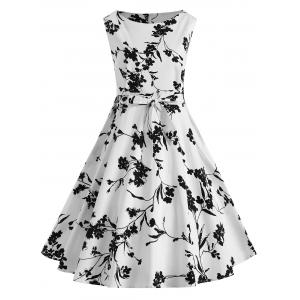 Sleeveless Floral Plus Size Vintage Dress