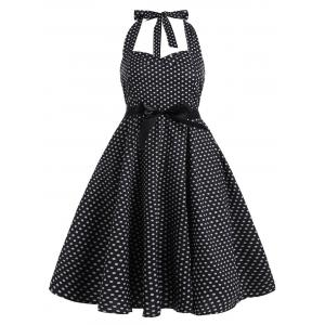 Plus Size Polka Dot Halter Vintage Dress
