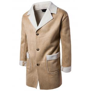 Slot Pocket Notch Lapel Faux Shearling Coat - Camel - 2xl