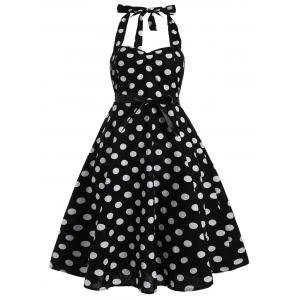 Plus Size Halter Polka Dot 50s Dress