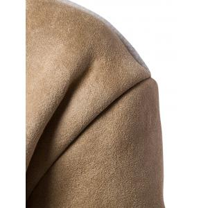 Slot Pocket Notch Lapel Faux Shearling Coat - Camel L
