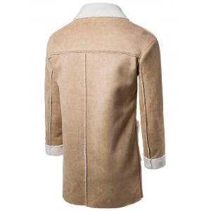 Slot Pocket Notch Lapel Faux Shearling Coat - CAMEL M