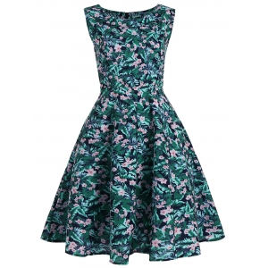 Plus Size Floral Leaf Print Vintage Dress - Colormix - 5xl